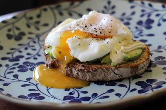 Poached Eggs with Avocado and Jap Mayo on Toasted Multi-grain Sourdough