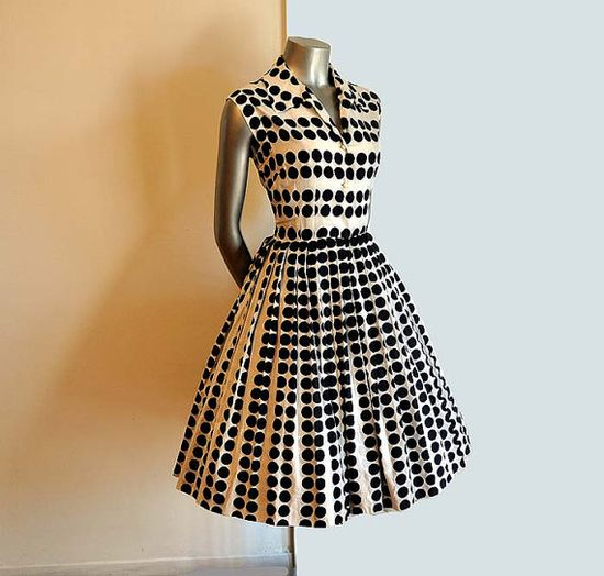 Vintage 50's Dress Polka Dots Op Art Novelty Print Full Skirt Shirt Dress