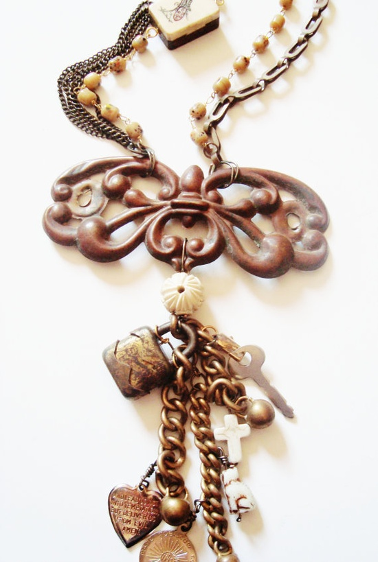 Vintage Upcycled  Assemblage Necklace   By Creative Revival