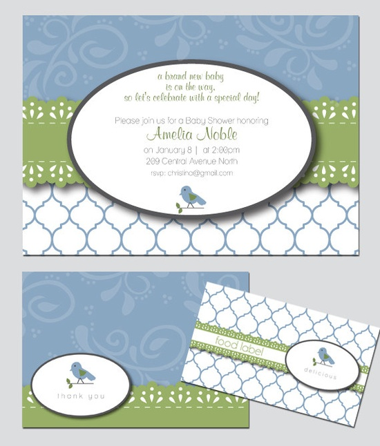 Shabby Chic Bird Baby Shower Invitation and Decoration. $30.00, via Etsy.