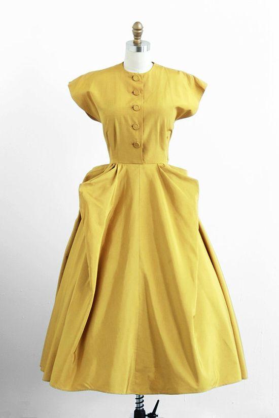 vintage 1940s chartreuse / mustard avant garde dress