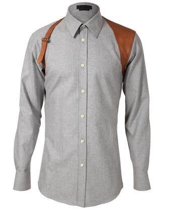 Leather Holster Detailed Shirt - Alexander McQueen