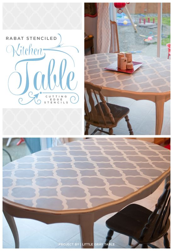 A gray stenciled table that uses the Rabat stencil from Cutting Edge Stencils. www.cuttingedgest... #cuttingedgestencils #stencils #stenciling #furniture #diy #table #kitchen
