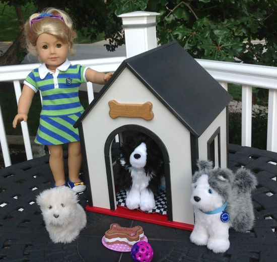 Dog house for 18 in American Girl doll pets BOYS by BedsandThreads