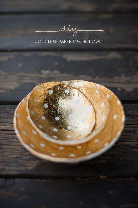 diy gold leaf paper mache bowls
