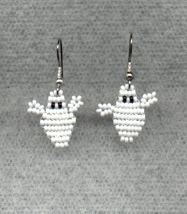 Halloween Beaded Ghost Earrings. $10.00, via Etsy.