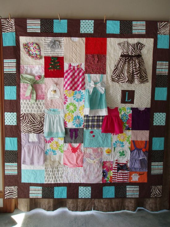 Brown and Teal baby clothes quilt by BarbMalmTshirtQuilts on Etsy