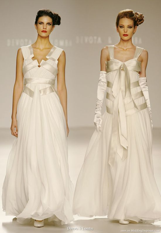 Devota & Lomba bridal collection - wedding gowns featuring ribbon tied around the body