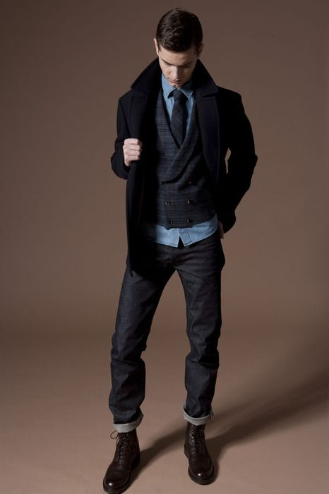 Dbl breasted vest, navy peacoat, chambray shirt, brown boots and slim, dark denim