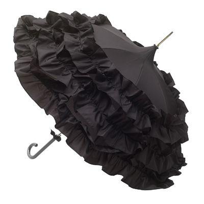 Lisbeth Dahl Black Umbrella with Three Flounces