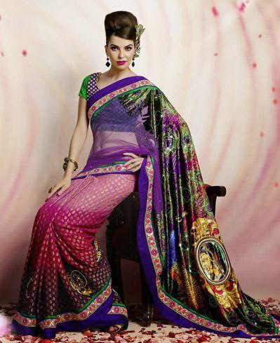 USD 155.68 Pink Jacquard Resham Work Designer Party Wear Saree 27787