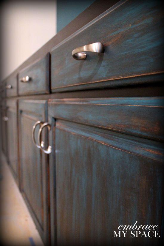 DIY Furniture Distressing #turquoise #teal #black #distressed #furniture