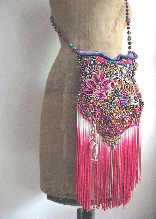 Boho Illuminati Bag w/Antique Embroideries &  Beads.