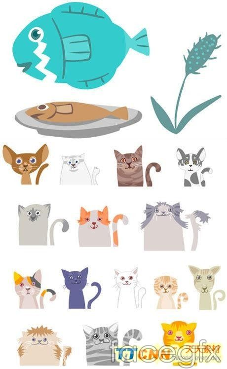 Selection of cute cat vector
