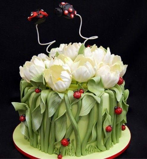 white tulips - flowers wedding cake idea (wedding,wedding cake,cake,tulip,white,flowers)