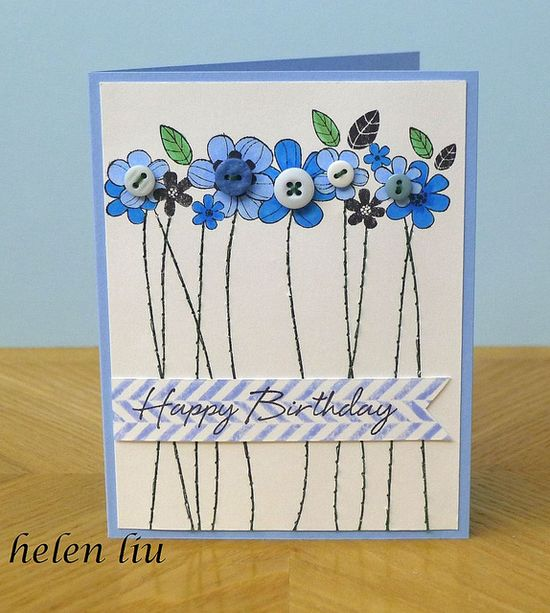 handmade card: Birthday Card by helenshiau ... row of flowers with button centers .... long stitched stems ... HAPPY BIRTHDAY on top of chevron stamped banner ... delightful!!