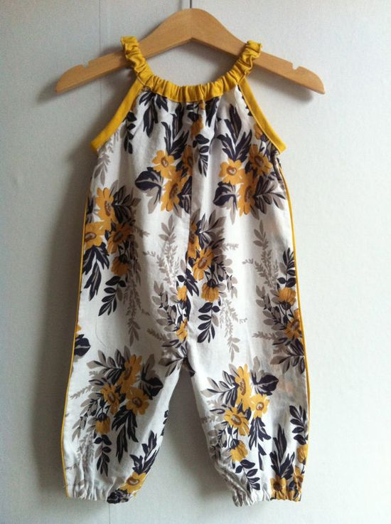 Floral Romper Suit by TreefallDesign on Etsy @Whitney Clark hoffmann Vivi would look adorable in this.