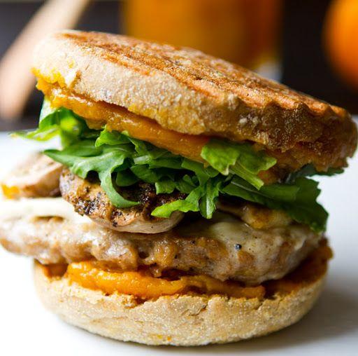 Jack-o-Pumpkin Vegan Breakfast Sandwich by healthyhappylife: Made with vegan sausage, mushrooms, vegan Monterey Jack, arugula, whole wheat Englis muffin and homemade pumpkin butter. ( Recipe for maple pumpkin butter included!) #Breakfast #Sandwich #Pumpkin #Vegan #heathlyhappylife