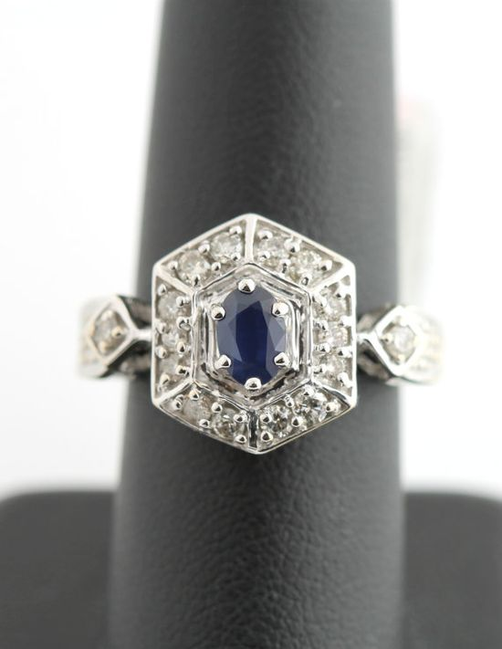 14K White Gold 1/2 Carat Diamond & 1/2 CT Sapphire Cluster Ring Vintage