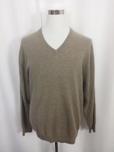 JOS A. BANK Travelers Collection XL Men's TAN Brown 100% CASHMERE V Neck Sweater