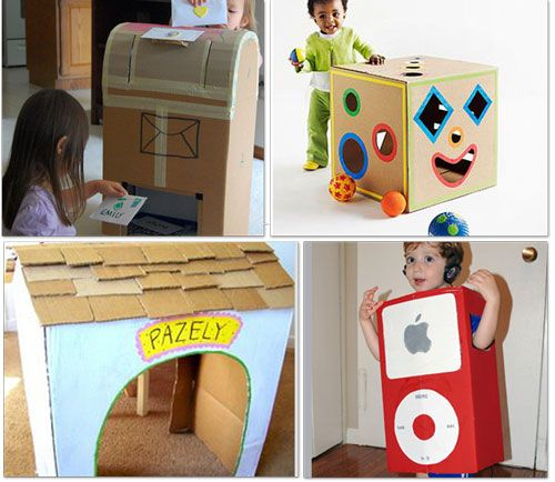 How to make your own cardboard mailbox, shape sorter box, ipod costume, and dog house!