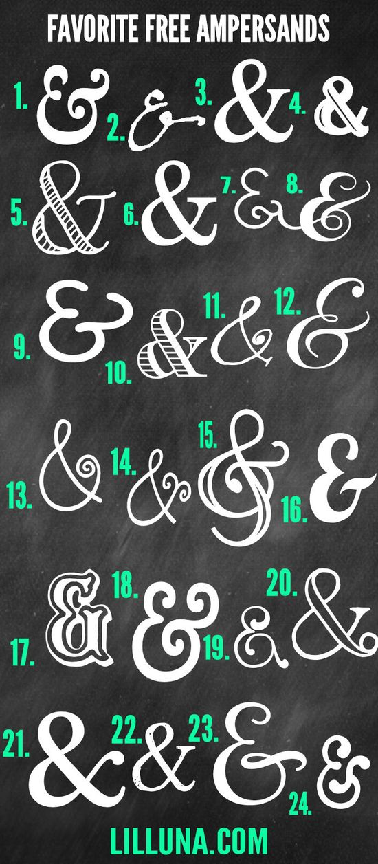Favorite FREE Ampersands to download and use for graphics and printables { lilluna.com } #ampersands