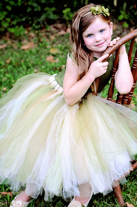 Green Flower Girl Dress--Rustic Woodland Wedding--Reversible Two Tone Corset Top--Ballet Neckline--Perfect for Weddings and Portraits. $150.00, via Etsy.