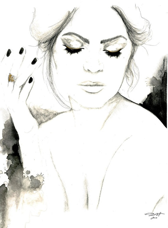 Shine on you crazy diamond, by Jessica Durrant #watercolor #illustration #charcoal