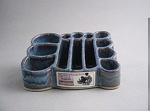 Handmade pottery makeup organizer...