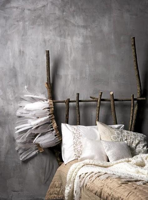 dreamy bohemian rustic wood stick bed #boho #bohemian feathers gypsy interior