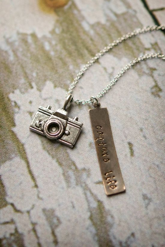 Camera Necklace  Hand Stamped Capture Life by SimplySweetStudio, $16.00