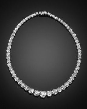 Riviere necklace; perfectly matched diamonds, 63.86 carats, platinum.