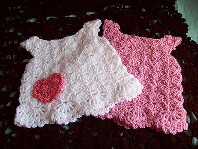 pretty little crocheted baby dress.