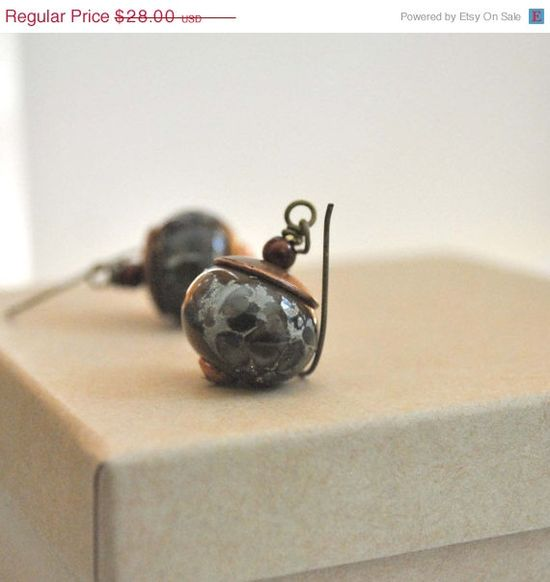 Sale Earthy Brown Copper Lampwork Earrings Artisan by bstrung, $22.40