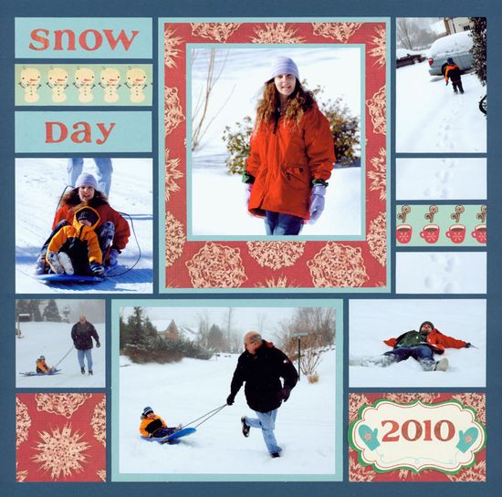 snow day scrapbook layout