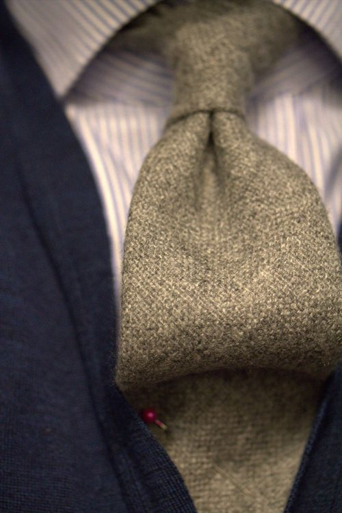 A wool tie will add some awesome texture to an outfit. It just seems fancy!
