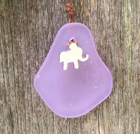 Elephant Lilac Sea Glass Necklace  by Wave of Life by WaveofLife, $17.00
