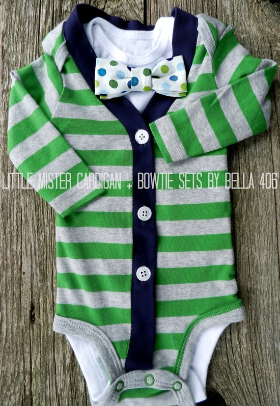 Little Boy's Cardigan Set - Green/Grey Bow Tie Set - Striped Cardigan- Little Mister Onesie Set- Great for Photography Props. $40.00, via Etsy.