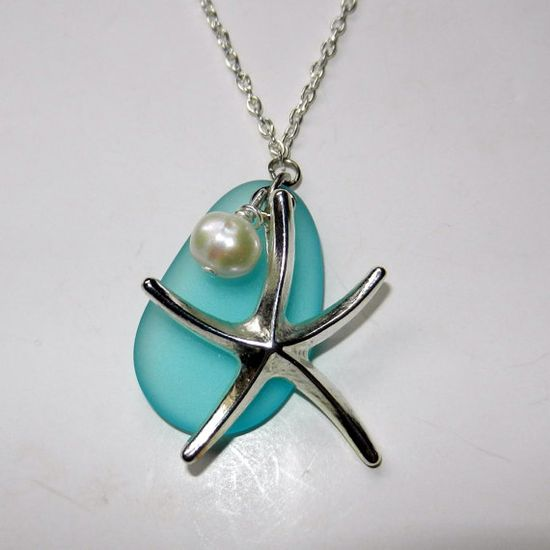 Silver Starfish and Blue Seaglass Charm Necklace