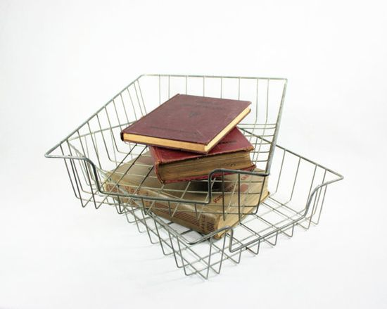 Vintage Metal Wire Desk/Storage Baskets by vintagefindsetcetera, $15.00