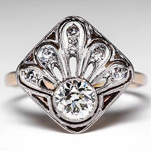 Antique Diamond Ring Transitional Cut in Plume Motif 14K Gold