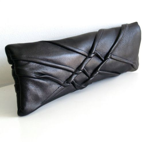 X Clutch by Carol Gilbert: Freeform texture and organic shaping. Made of repurposed leather, lined with linen. #Handbag #Clutch #Leather-Clutch #Carol_Gilbert
