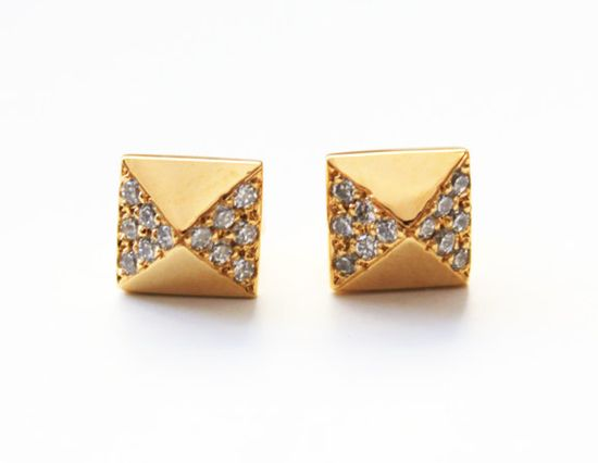 Pyramid Stud Earrings with pave crystals 14K gold by TinyArmour, $65.00