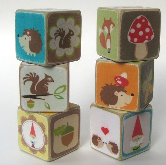Cute Set of Woodland Animal Wooden Blocks