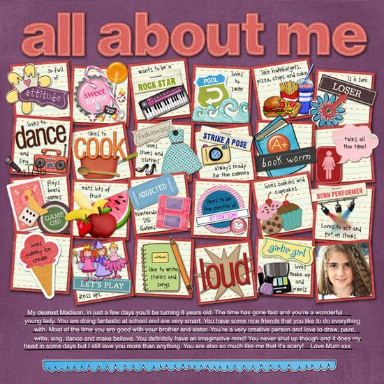 All About Me #journal #scrapbook #notes #squares #layout