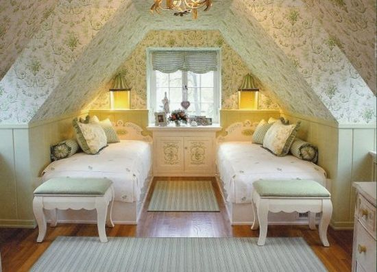 so pretty, love attic bedrooms!