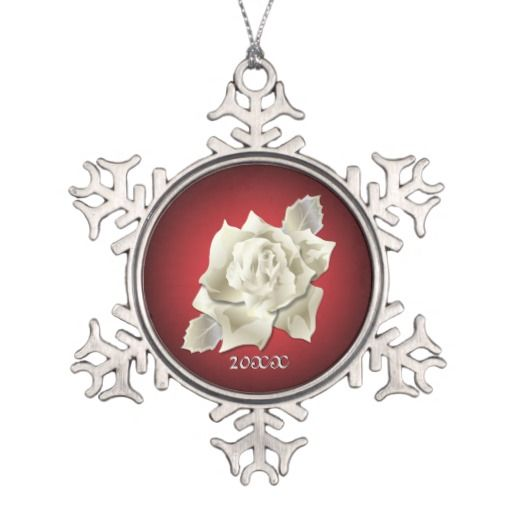 Silver Color Rose on Dark Red Holiday Ornaments