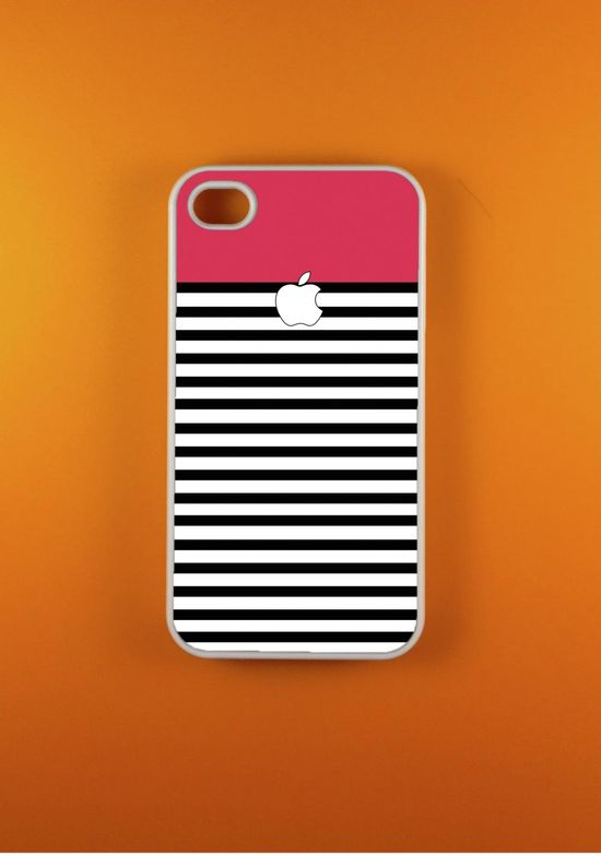 Iphone 4 Case - Pink White Striped Iphone