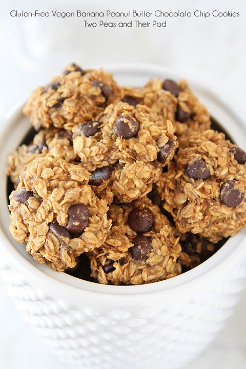 Gluten-Free Vegan Banana Peanut Butter Chocolate Chip Cookie Recipe on twopeasandtheirpo... Healthy cookies have never tasted so good!