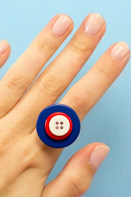 DIY Fourth Of July Button Ring via My Favourite Things